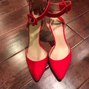 Red Zara heels with ankle strap